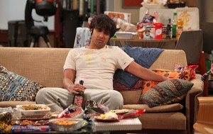 """The Monster Isolation"" -- After a terrible date, Koothrappali (Kunal Nayyar) vows to never leave his apartment, on THE BIG BANG THEORY, Thursday, Feb. 21 (8:00 – 8:31 PM, ET/PT) on the CBS Television Network. Photo: Monty Brinton/CBS ©2013 CBS Broadcasting, Inc. All Rights Reserved."